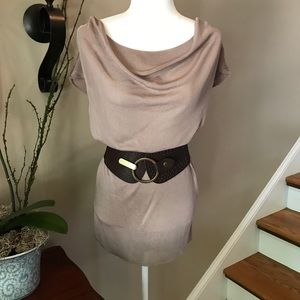 Chico's Taupe  Silky Draped Neck Sleeves Tunic